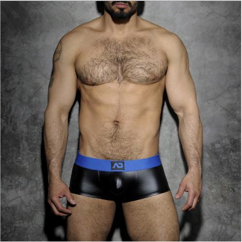 25e137d5c7c36 Трусы мужские хипсы черные под кожу с синей резинкой ADDICTED